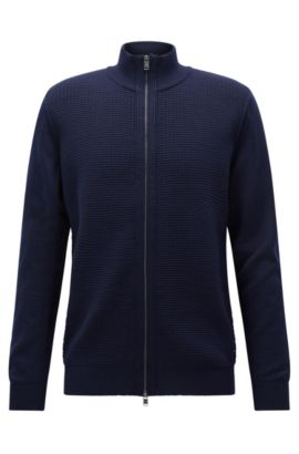 Regular-fit zipped cardigan in virgin wool, Dark Blue