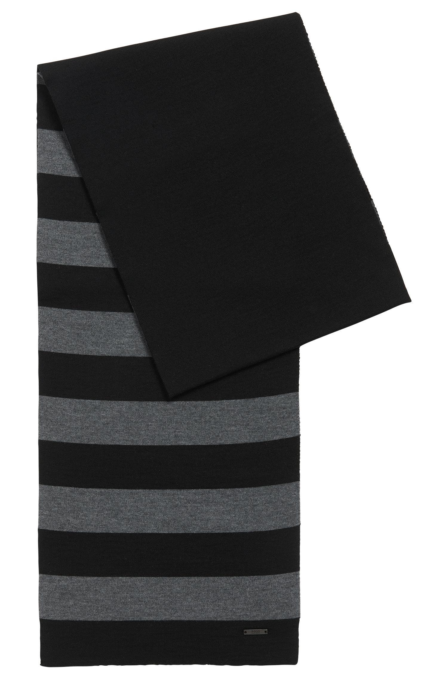 Écharpe à rayures en jersey de laine vierge