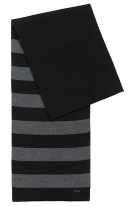 Striped scarf in virgin wool jersey, Black