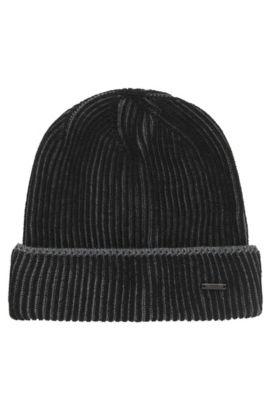 Mütze mit Flechtmuster aus Schurwolle, Schwarz