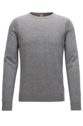 Contrast-seam knitted sweater, Light Grey