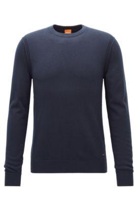 Contrast-seam knitted sweater, Dark Blue