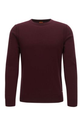 Contrast-seam knitted sweater, Dark Red