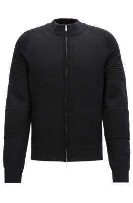 Regular-fit jas van scheerwol, Zwart