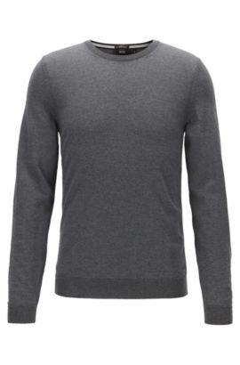 Slim-fit trui van zuivere merinowol, Grijs