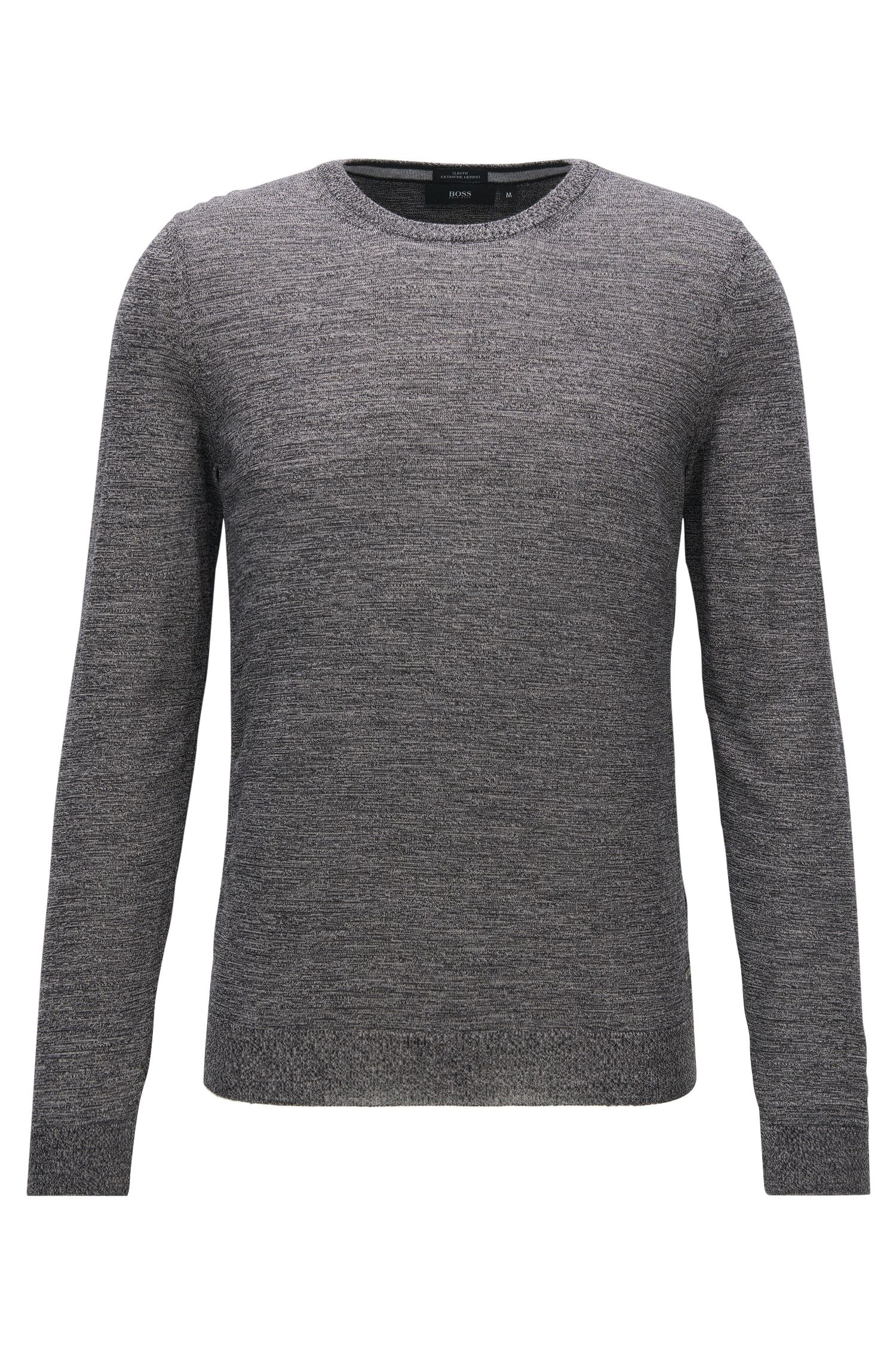 Slim-fit sweater in pure merino wool