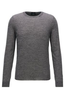 Slim-Fit Pullover aus extrafeiner Merinowolle, Grau