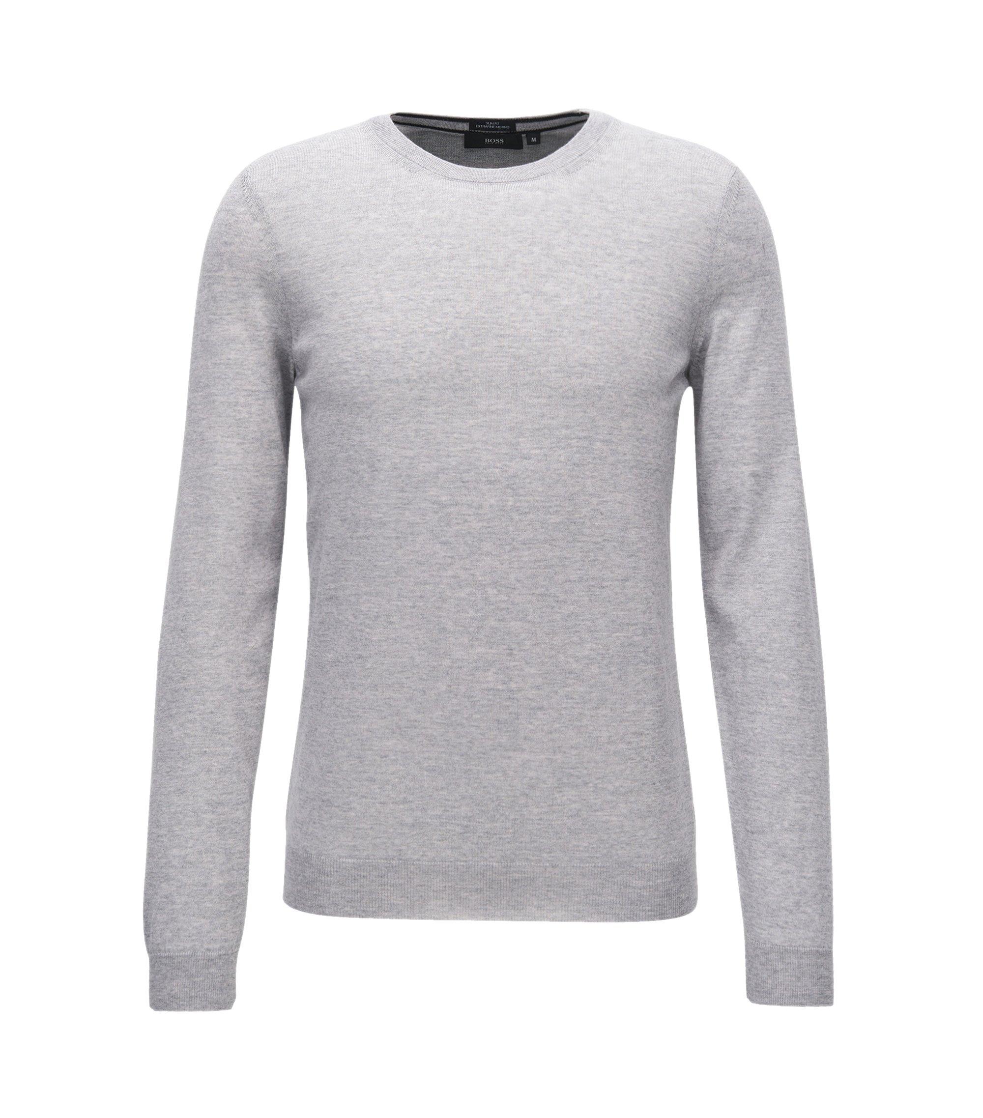Jersey slim fit en pura lana de merino, Gris claro