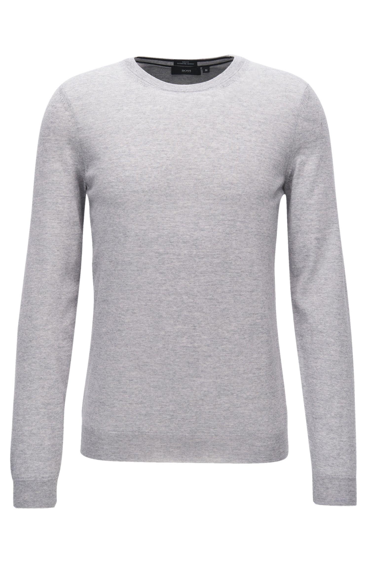 Slim-fit sweater in pure merino wool