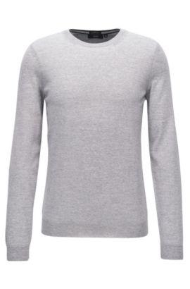Slim-fit sweater in pure merino wool, Open Grey