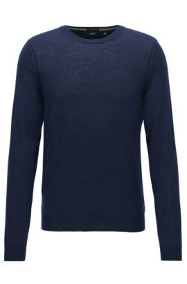 Maglione slim fit in pura lana merino, Blu scuro