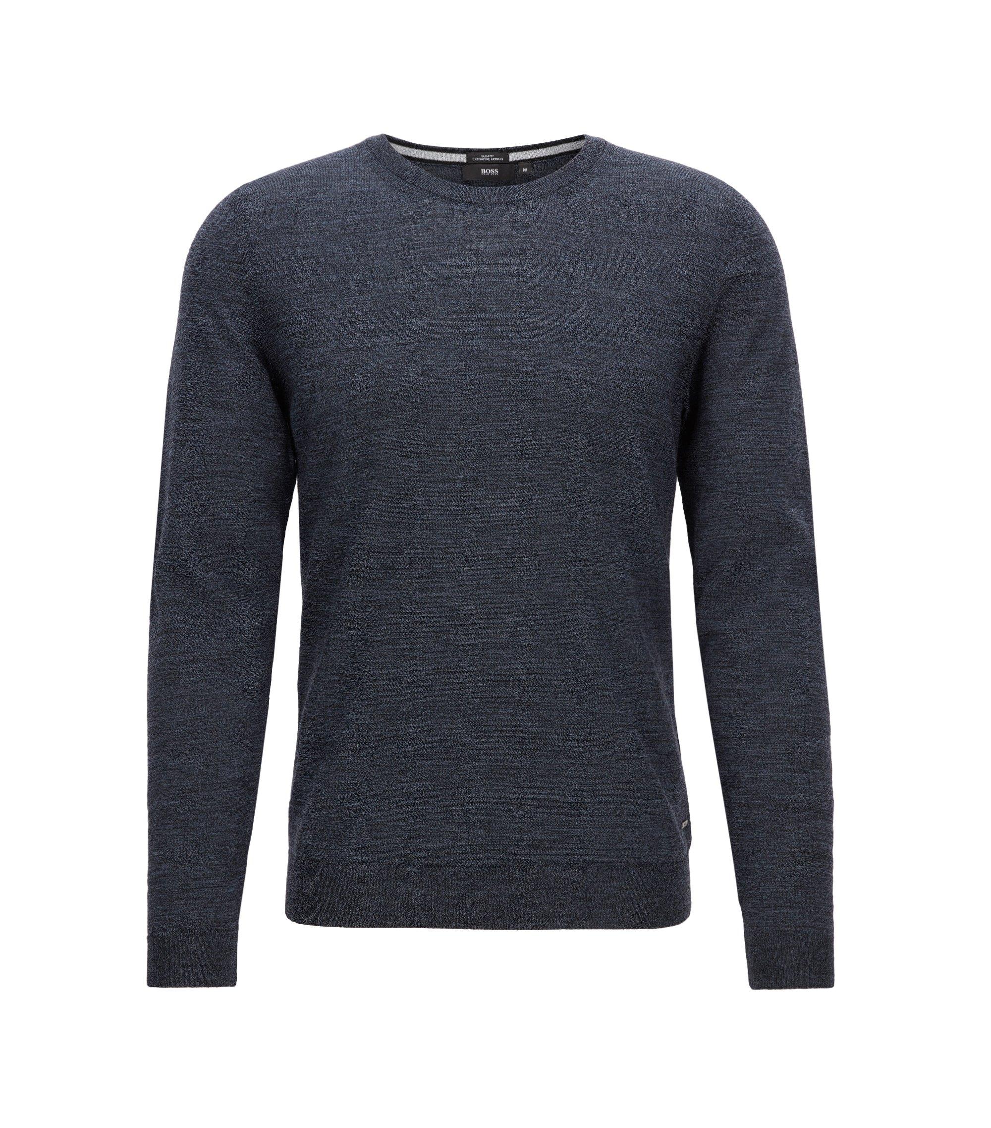 Slim-fit trui van zuivere merinowol, Donkerblauw