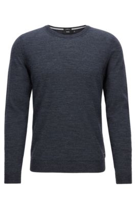 Slim-fit sweater in pure merino wool, Dark Blue