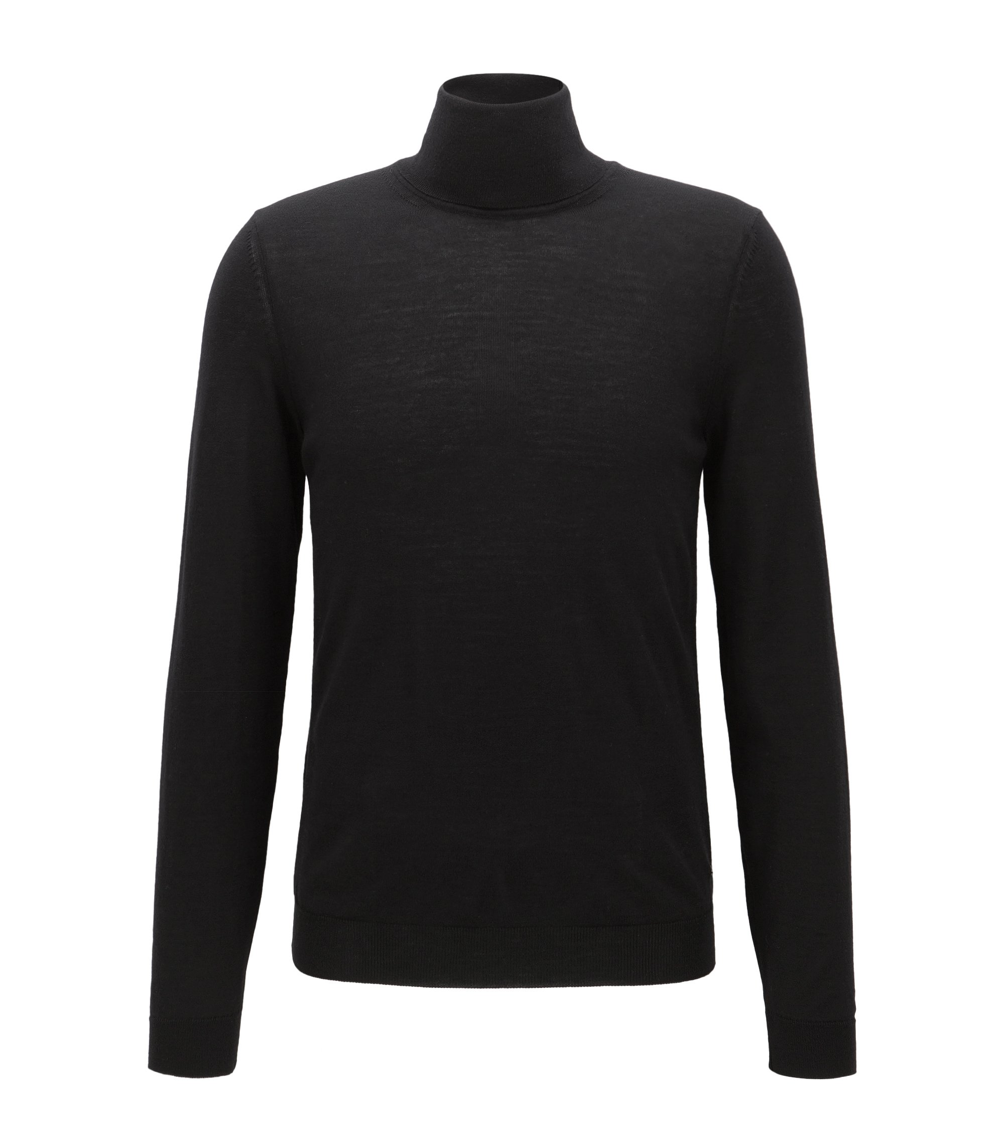 Slim-fit turtle-neck sweater in wool, Black