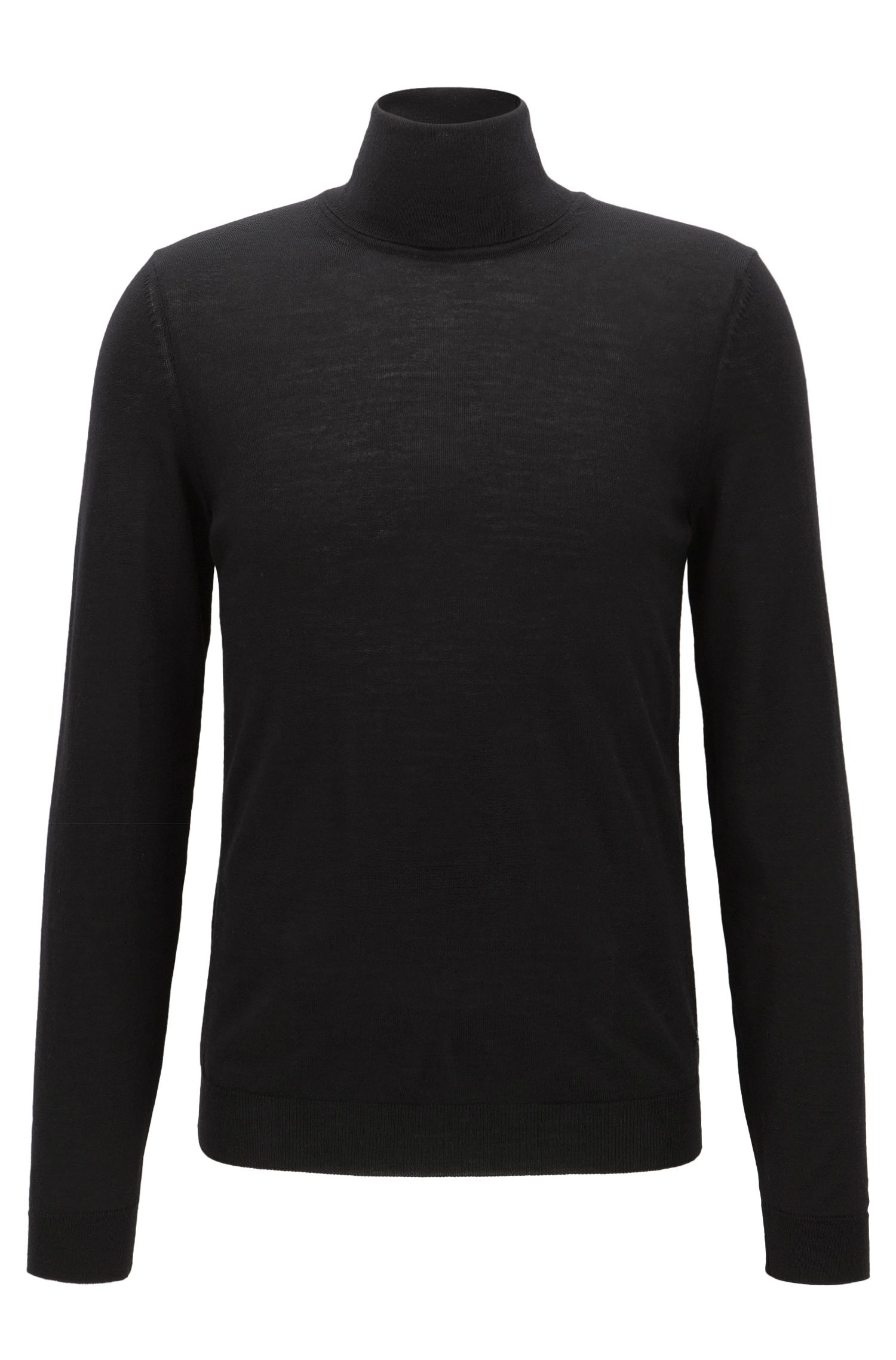 Maglione slim fit in lana con colletto a tartaruga