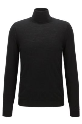 Maglione slim fit in lana con colletto a tartaruga, Nero