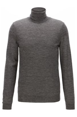 Slim-fit turtle-neck sweater in wool, Grey