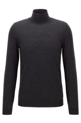 Slim-fit turtle-neck sweater in wool, Dark Grey