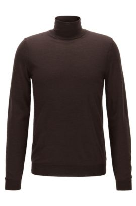 Slim-fit turtle-neck sweater in wool, Dark Brown