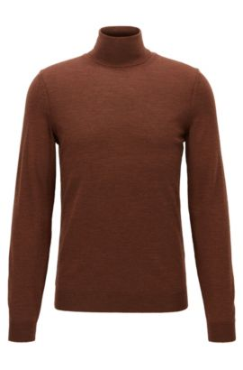 Maglione slim fit in lana con colletto a tartaruga, Marrone