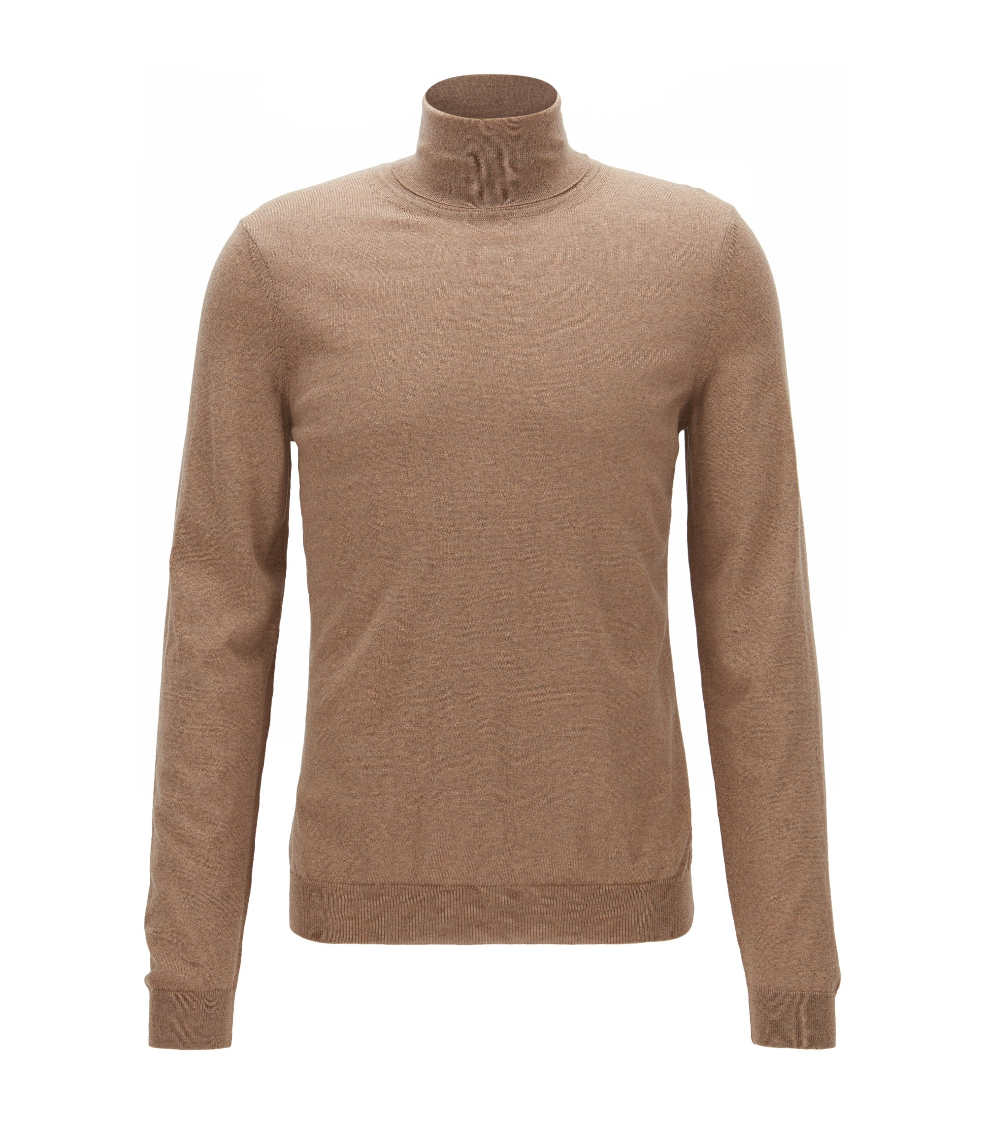Maglione slim fit in lana con colletto a tartaruga, Beige