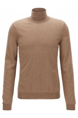 Slim-fit turtle-neck sweater in wool, Beige