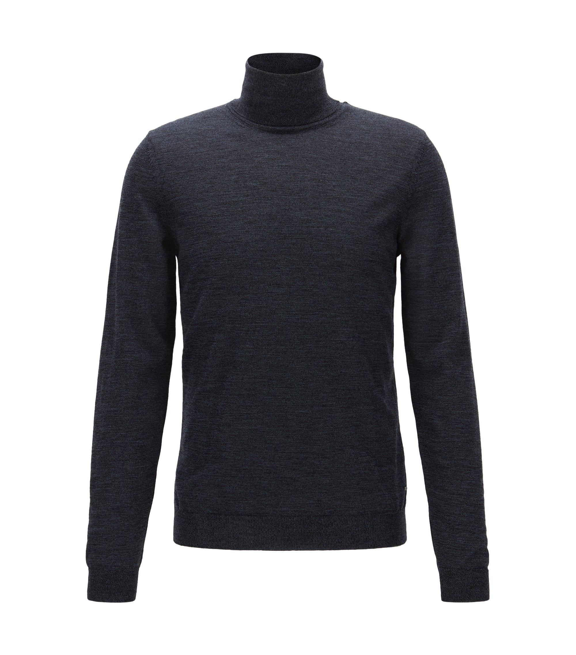Slim-fit coltrui van wol, Donkerblauw