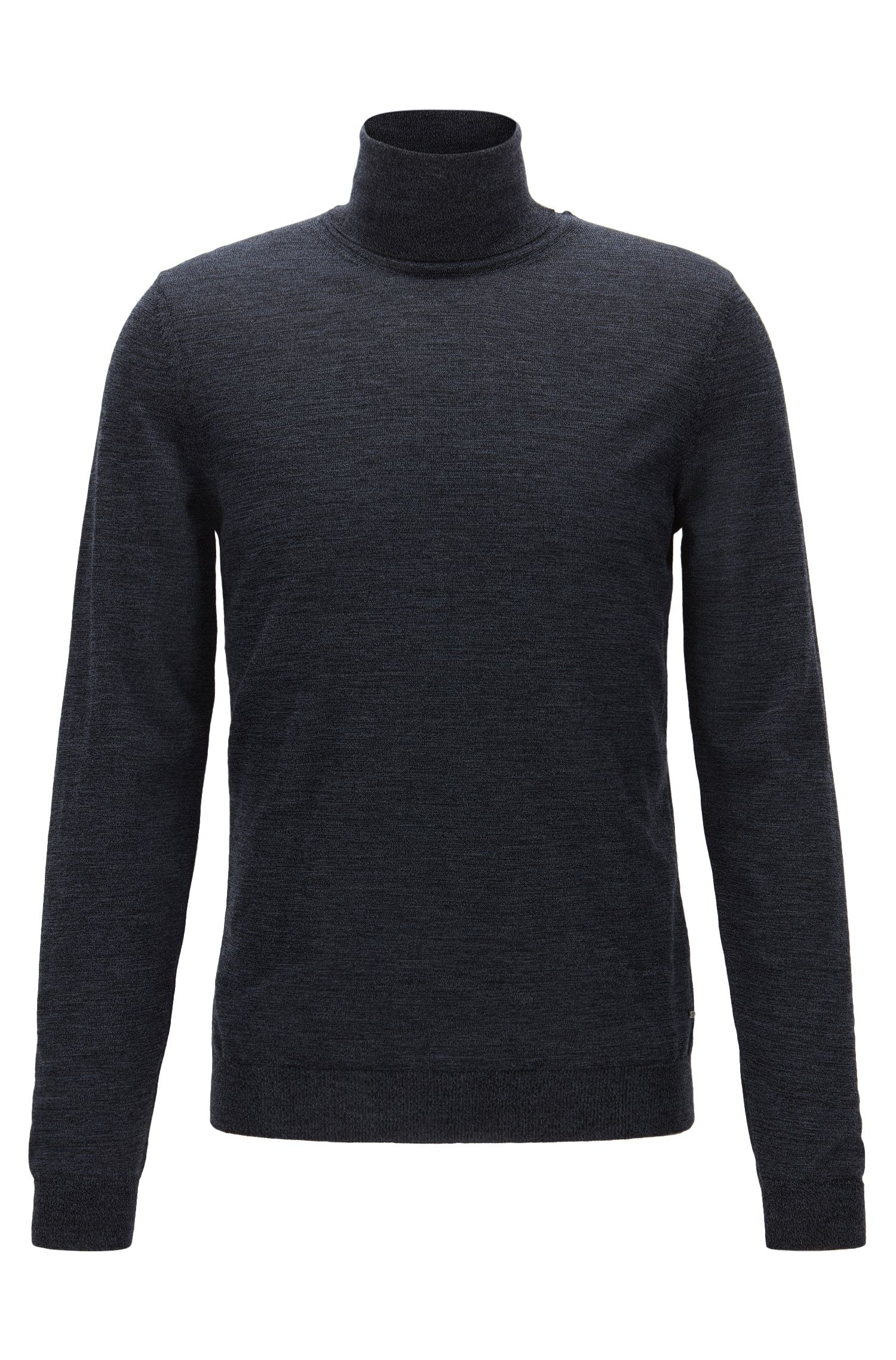 Slim-fit turtle-neck sweater in wool, Dark Blue