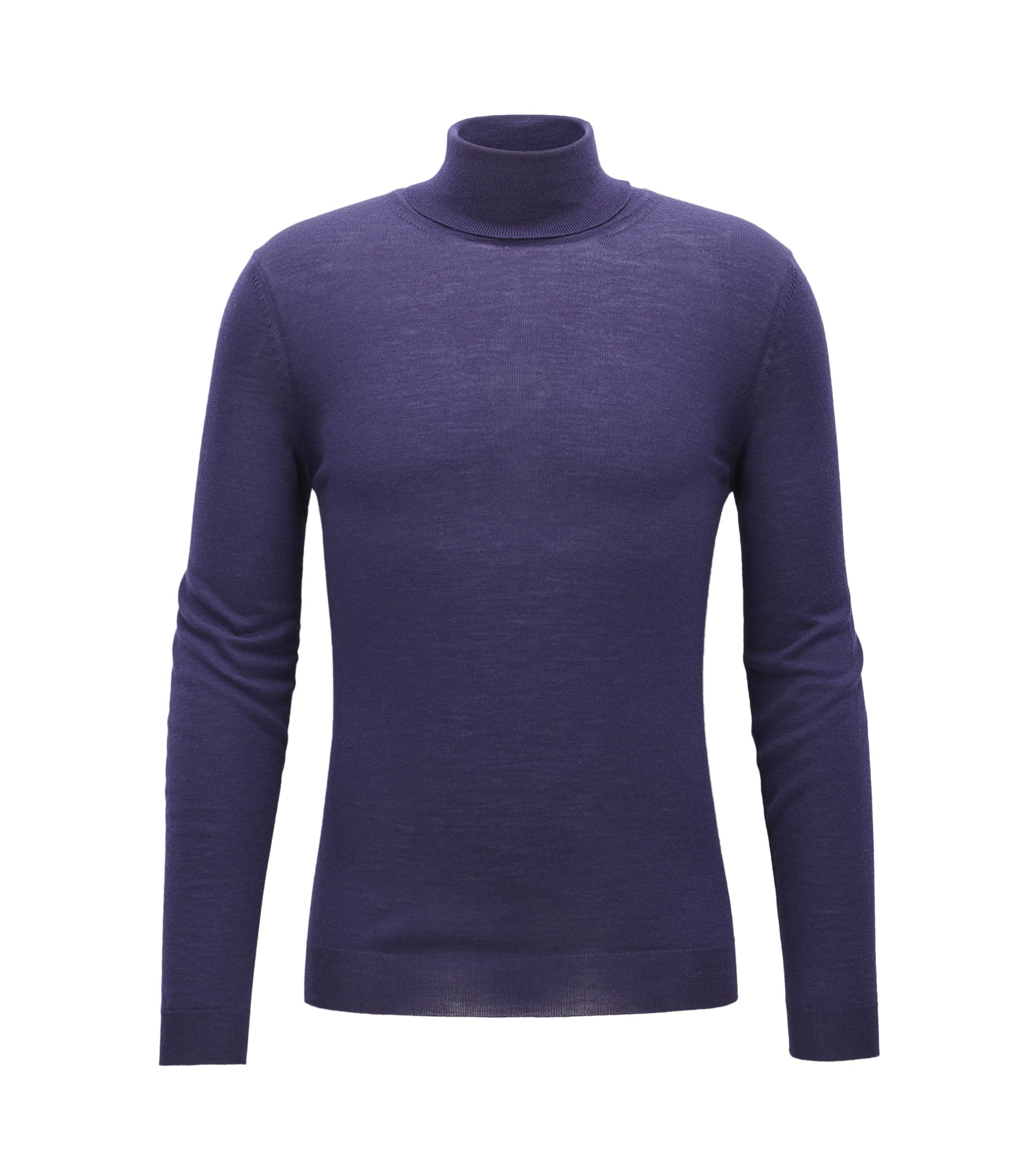 Maglione slim fit in lana con colletto a tartaruga, Viola scuro