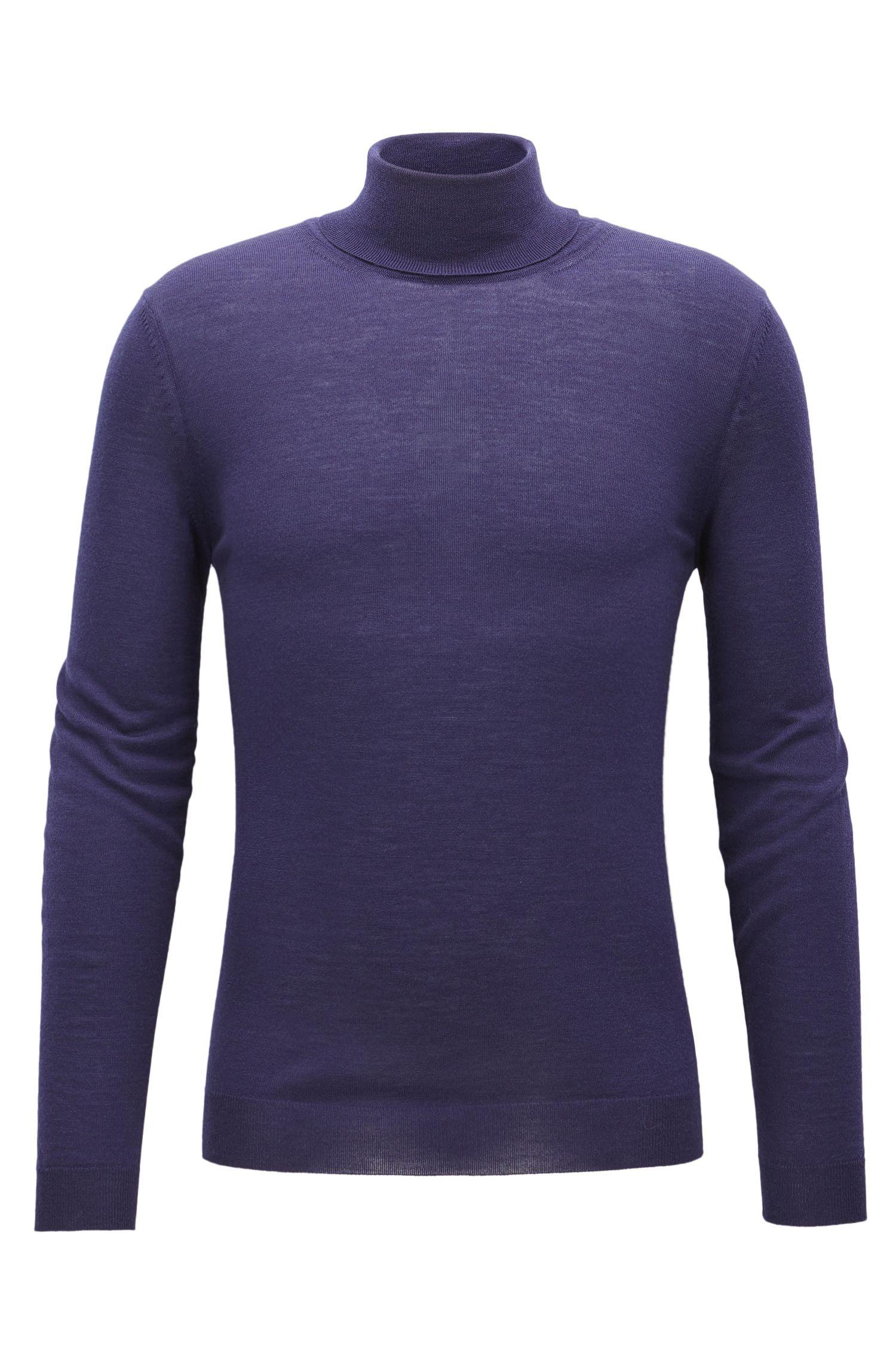 Slim-fit turtle-neck sweater in wool
