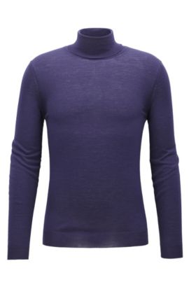 Slim-fit turtle-neck sweater in wool, Dark Purple
