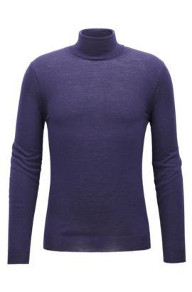Jersey slim fit con cuello alto en lana, Púrpura oscuro