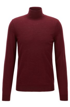 Maglione slim fit in lana con colletto a tartaruga, Rosso scuro