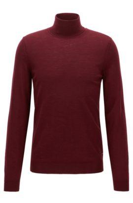 Slim-fit turtle-neck sweater in wool, Dark Red