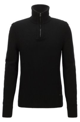 Troyer sweater with structured front panel, Black
