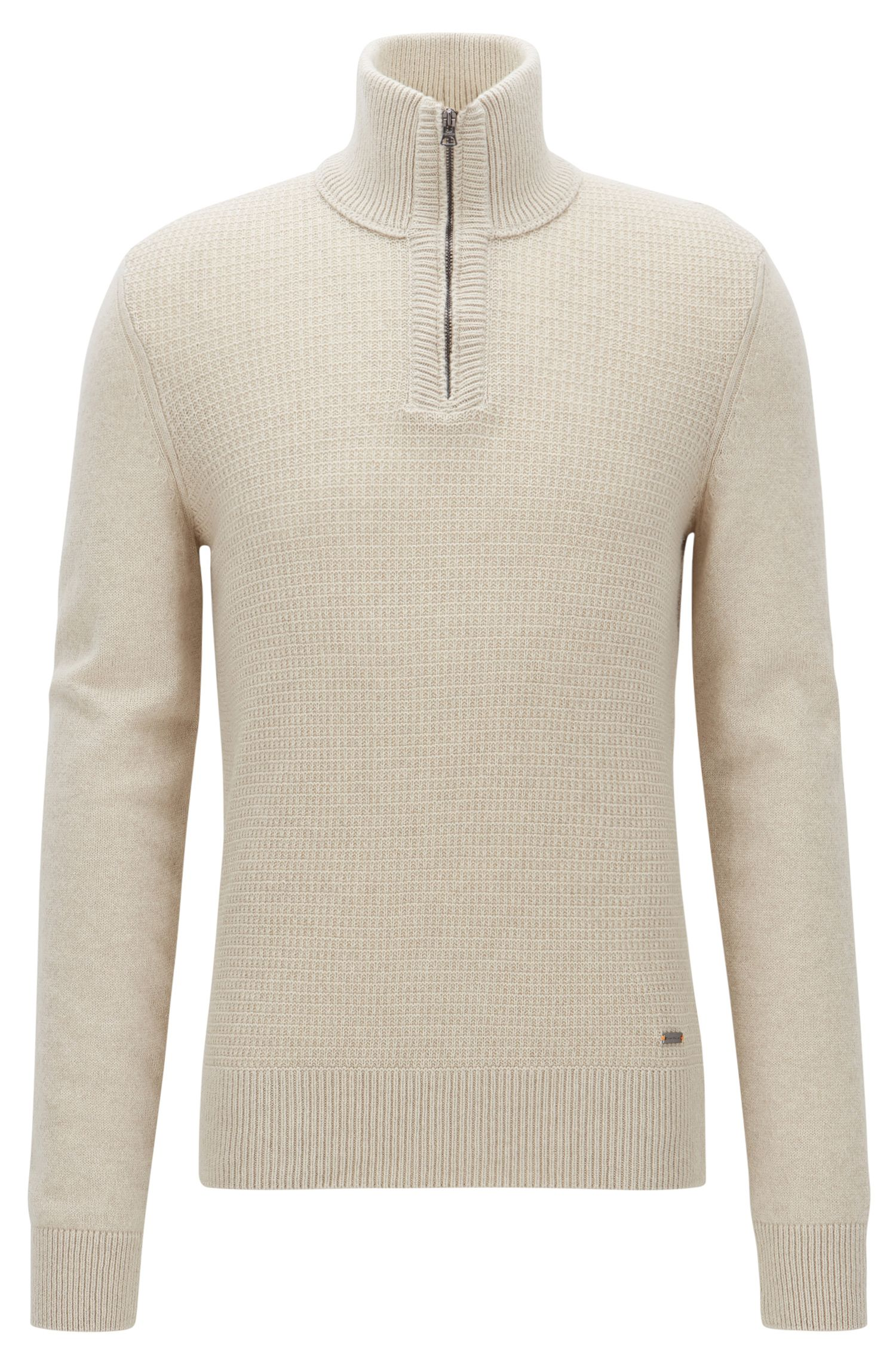 Troyer sweater with structured front panel