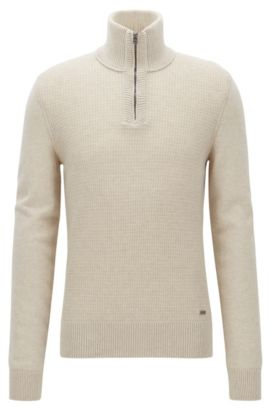 Troyer sweater with structured front panel, Beige