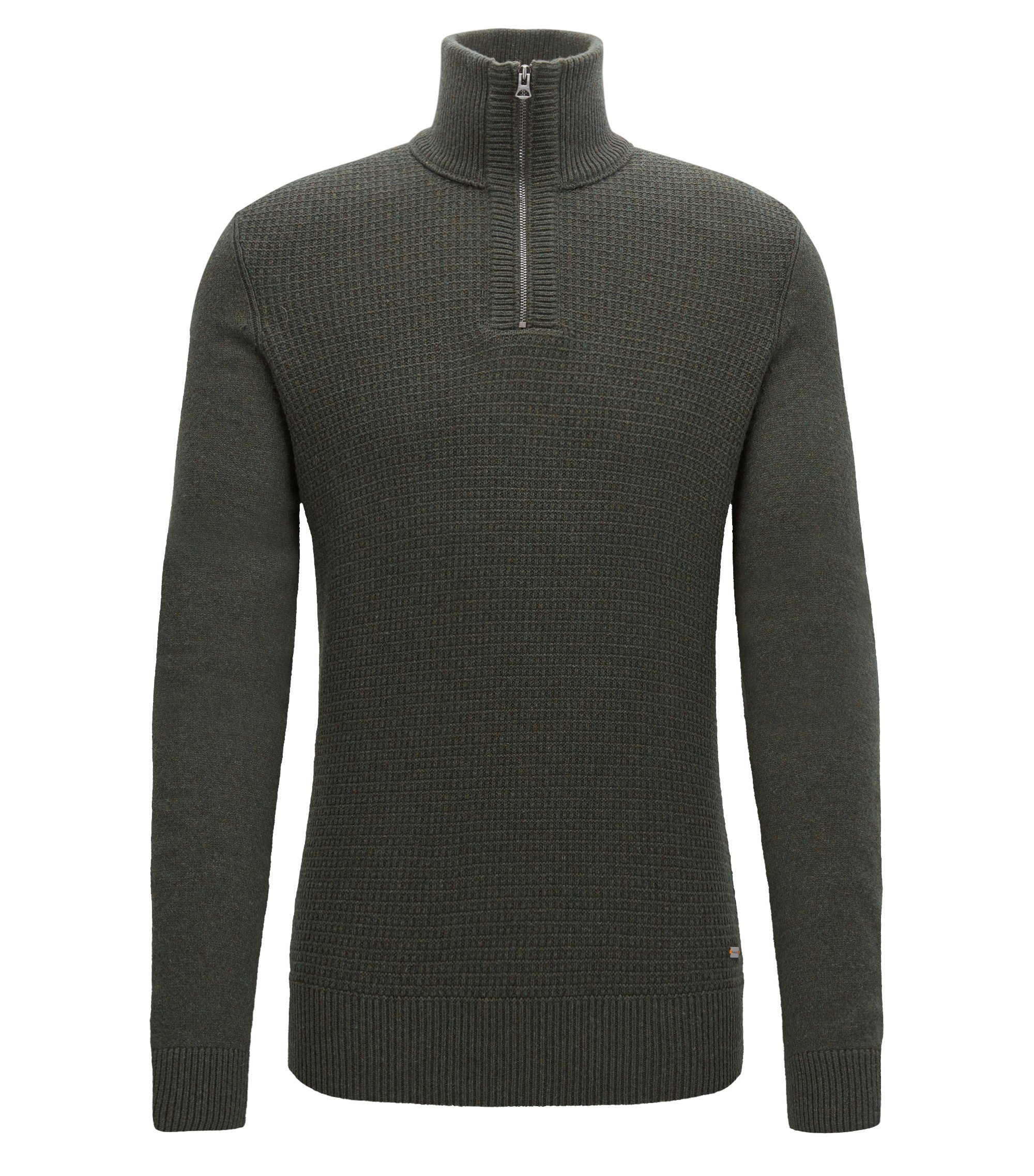 Troyer sweater with structured front panel, Dark Green