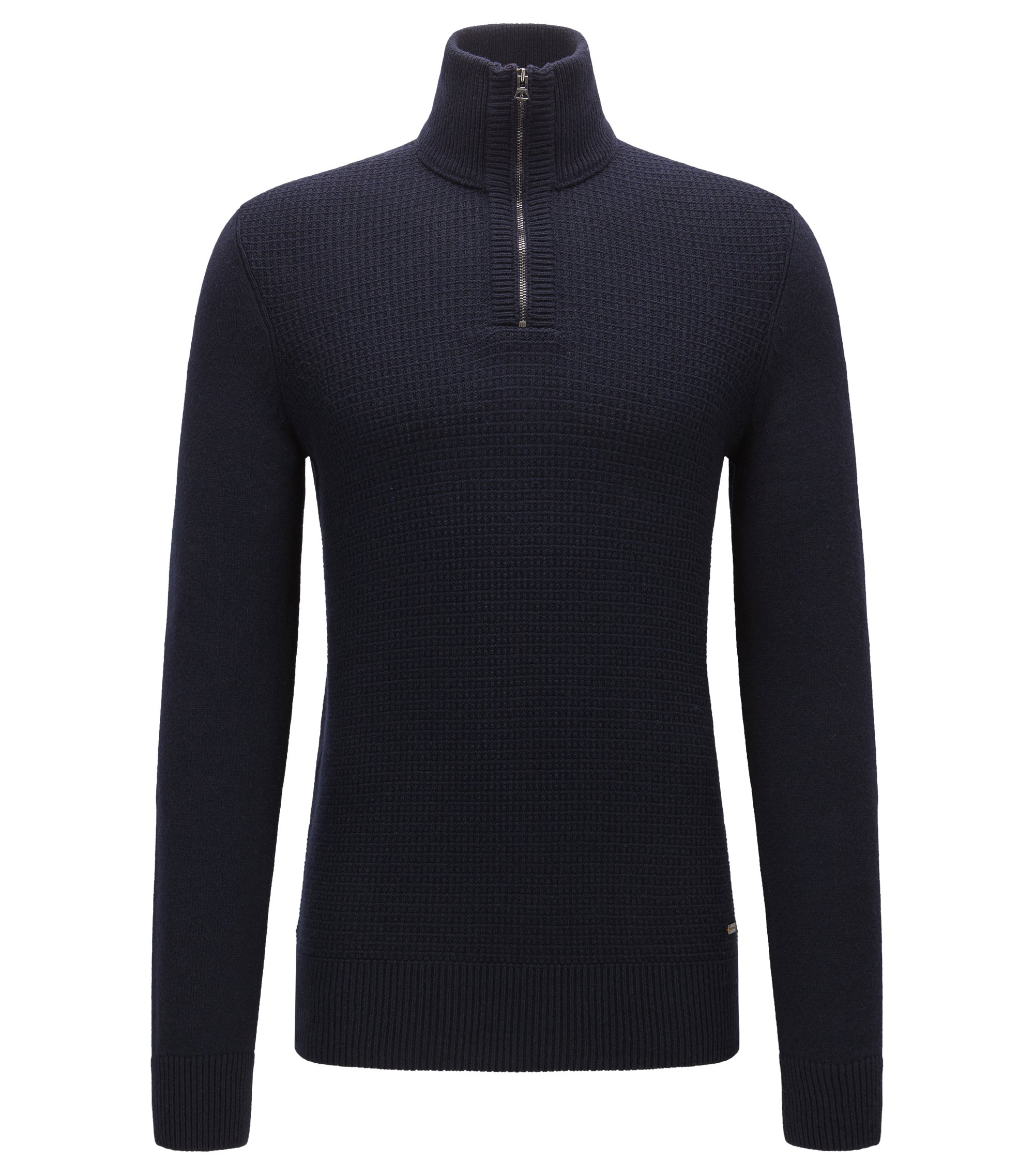 Troyer sweater with structured front panel, Dark Blue