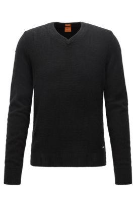 Regular-Fit Pullover aus Baumwoll-Mix mit Wolle, Schwarz