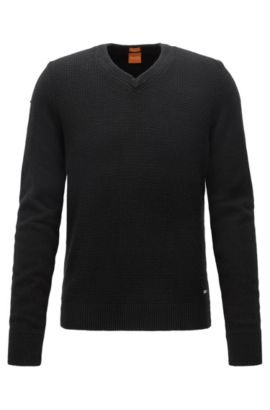 Regular-fit sweater with cotton and wool, Black