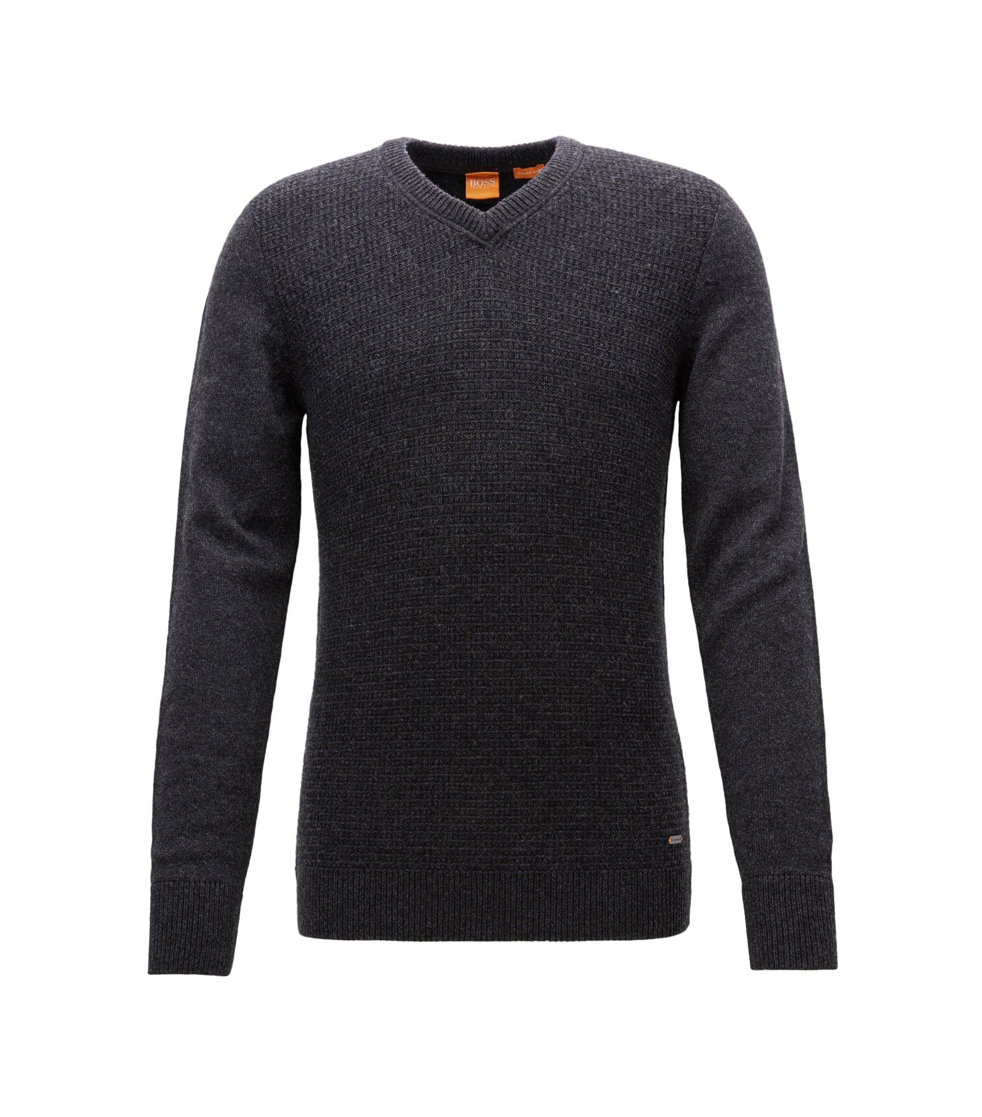 Pull Regular Fit confectionné avec du coton et de la laine, Gris sombre