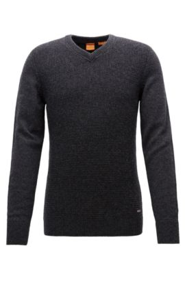 Regular-fit sweater with cotton and wool, Dark Grey
