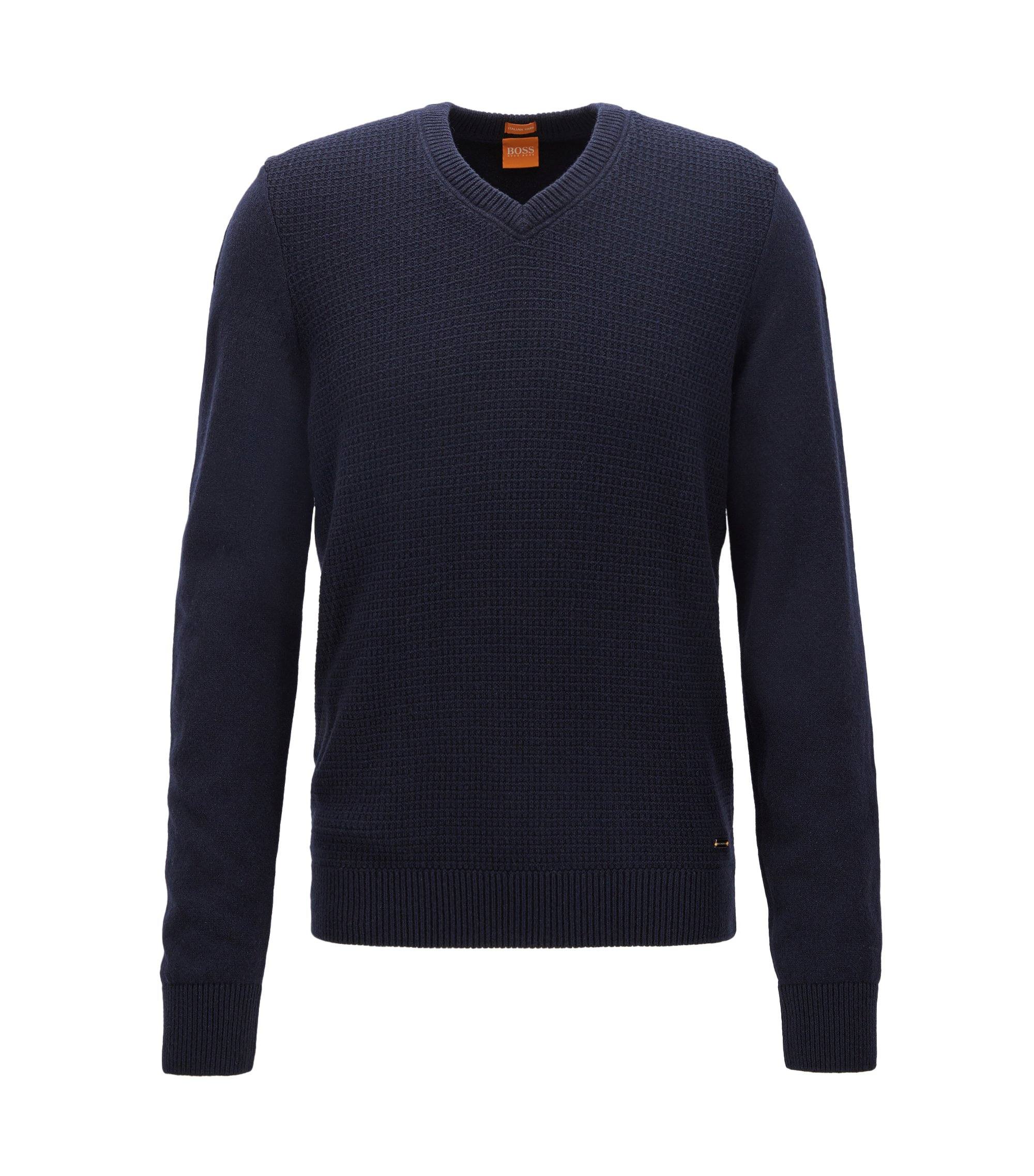 Regular-Fit Pullover aus Baumwoll-Mix mit Wolle, Dunkelblau
