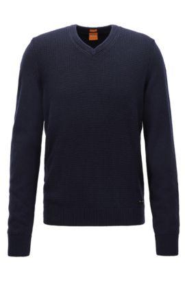 Pull Regular Fit confectionné avec du coton et de la laine, Bleu foncé