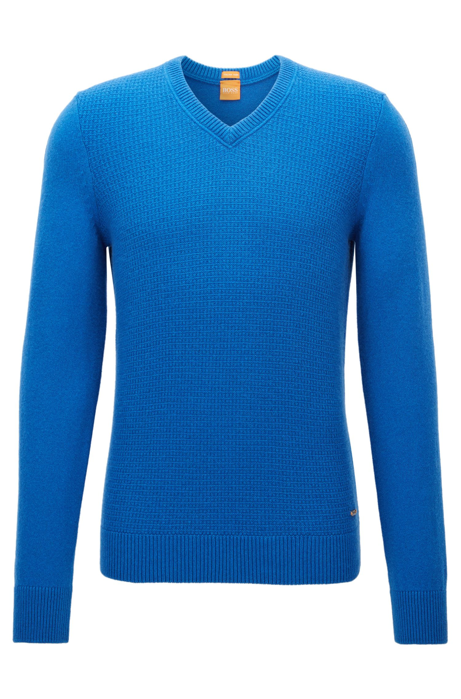 Regular-fit sweater with cotton and wool