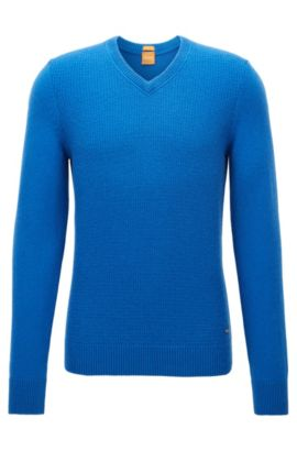 Regular-fit sweater with cotton and wool, Blue