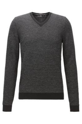 Pull à col V en laine vierge produite sans pratiquer le mulesing, Noir