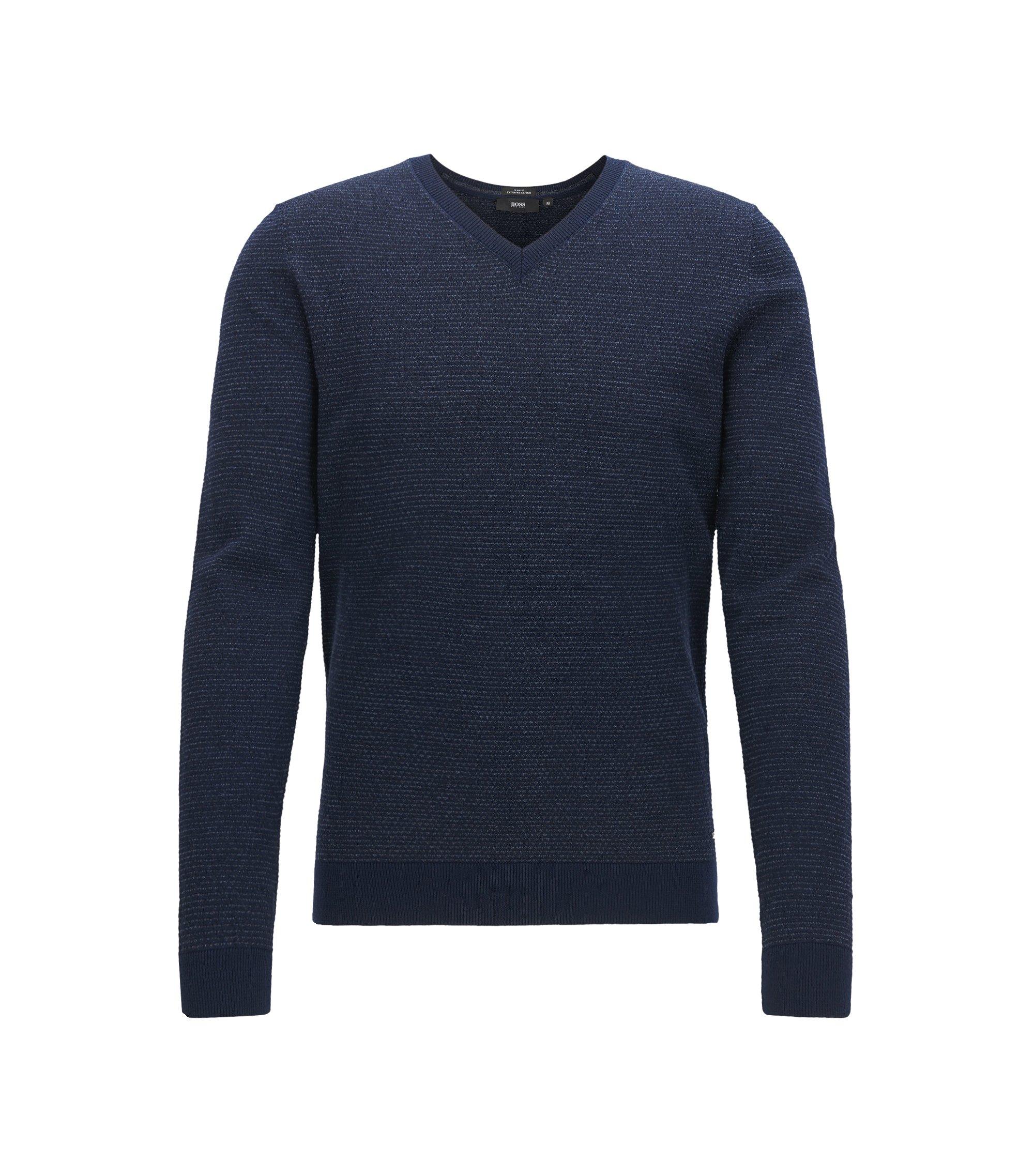 Jersey con cuello en pico de lana virgen obtenida mediante procedimientos libres de crueldad hacia el animal, Azul oscuro