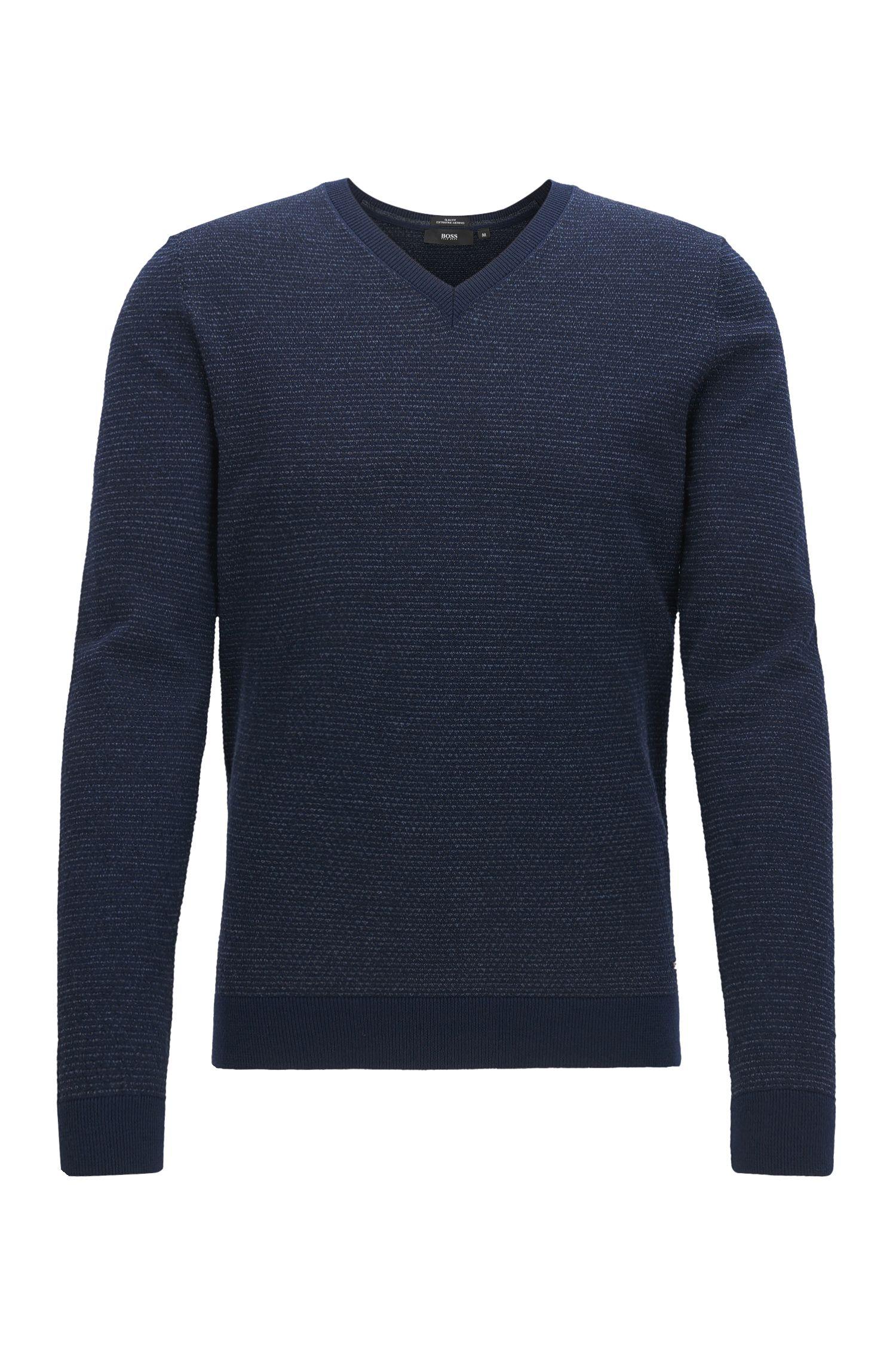 Pull à col V en laine vierge produite sans pratiquer le mulesing
